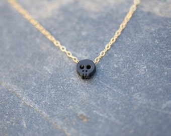 Tiny BLACK Skull charm necklace on dainty gold necklace, minimalist necklace, everyday necklace