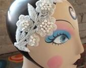 Beaded Bridal Head Piece White Pearls and Crystal Beaded Wedding Headband