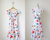 1980s vintage off shoulder white multicolor oversized pullover long maxi ruffle collar dress m l xl