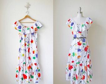 1980s Maxi Dress/ Long Dress/ Jackson Pollock Dress