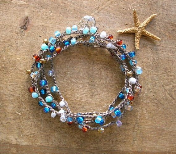 Beachy crochet wrap bracelet - Surf N Sand - Bohemian jewelry, layer summer beach jewelry, long necklace, aqua, gold, copper, pearl, boho
