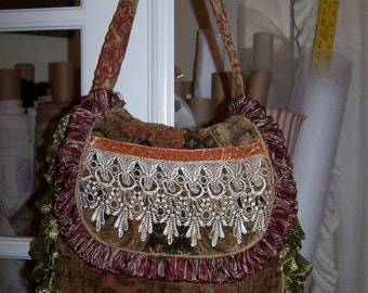 SALE! Chenile Tapestry Boho Hobo Purse Bag with FABULOUS Venetian Lace and Crushed Velvet Ribbon