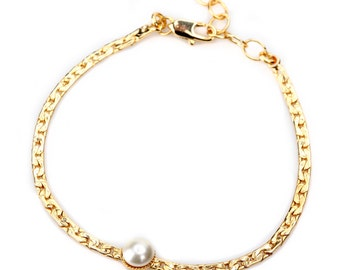 24k gold-plated chain Bracelet with  natural  Pearl