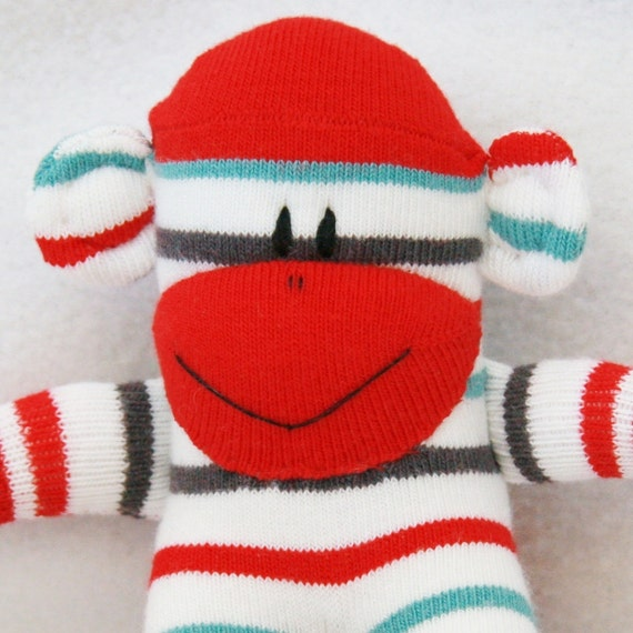 Baby Sock Monkey Toy Red White with Grey and Green Stripes Stuffed Toy