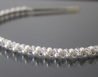 Swarovski Pearl and Crystal Headband-Gold Swarovski Headband-Silver Swarovski Headband-HB105