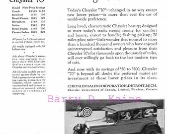 Vintage Chrysler 70 1926 ad. print