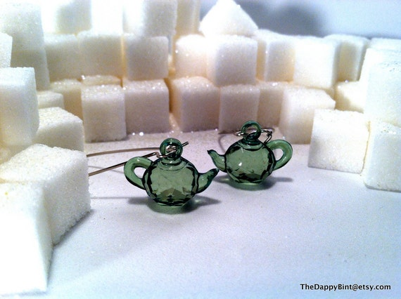 Green Tea - Faceted Tea Pot Earrings - Long and Light - Many More Colors Available - Quantities Discounted - LMTD COLOR