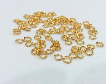 50 Pcs (5 mm) Gold Plated Brass  jumpring ,Findings G147