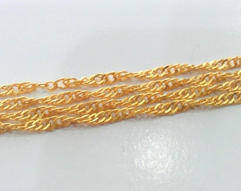 1 Meter - 3.3 Feet  (3 mm) Gold Plated Chain G517