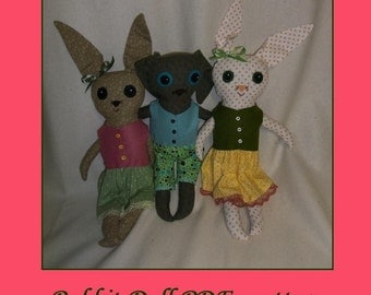 Rabbit Doll Pattern  - pdf epattern Tutorial