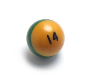 Vintage number 14 - Pool Ball - snooker - kelly green - fourteen - St patricks day - yellow