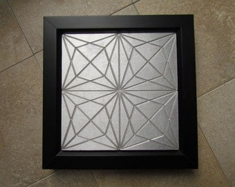 Star Tile, 6 x 6 inch Geometric Tile, Recycled Cast Aluminum Wall Art with Black Frame