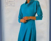 Super Saver 7619 Vintage 1980s Cowl Neck Dress Sewing Pattern Bust 34-38 Inches Stretch Knits