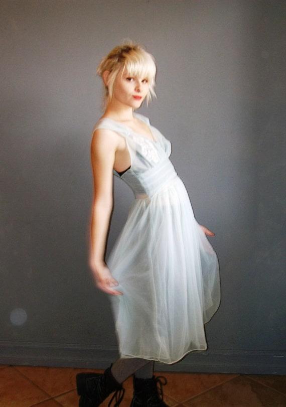vintage blue babydoll lingerie dress / s