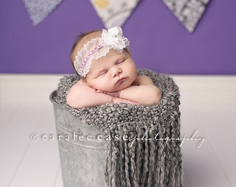 Limited Edition- Nelia- lavender lace ruffle and flower headband
