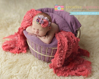 Gemma- Purple and coral double rosette with lace headband bow