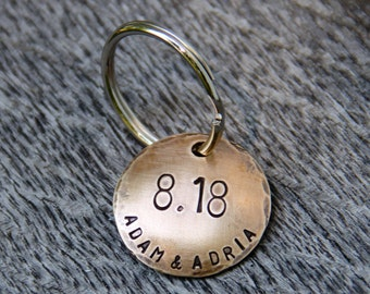 Custom Stamped Keychain - On This Day - Great gift for Weddings, Anniversaries in 1'' Bronze