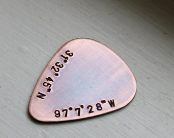 Coordinates - Custom Guitar Pick in Copper - Perfect Gift for Anniversary, Wedding