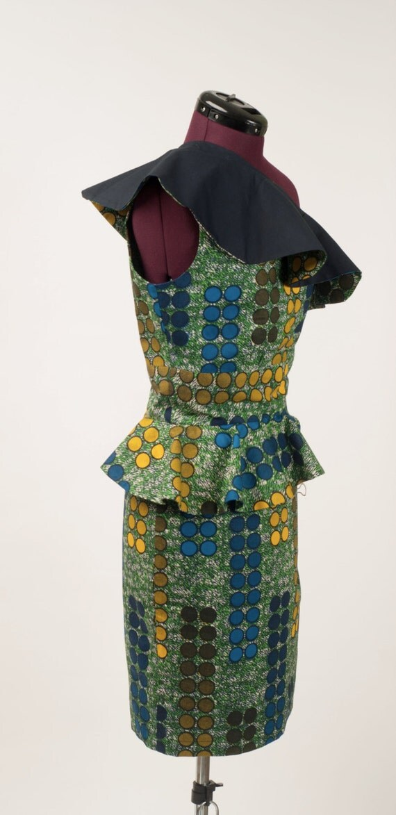 One shoulder ankara peplum dress SIZE 12