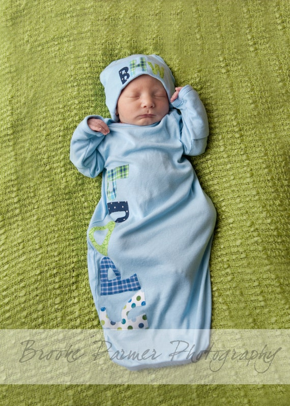 Personalized boy or girl layette sleep sack gown and monogram style beanie 1-6 letters in name on layette your choice of fabrics