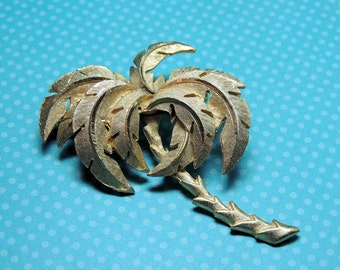 Palm Tree Vintage Brooch Pin Brushed Gold Vintage Jewelry
