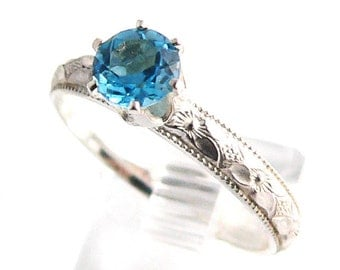 Swiss Blue Topaz Silver Patterned Stacking Ring