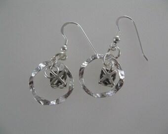 Merkaba Eternity Circle Earrings, Merkaba Jewelry, Circle Earrings, Sterling Silver Dangle Earrings, Silver Star Earrings, Spiritual Jewelry
