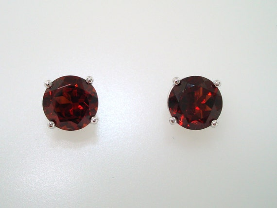 garnet stud earrings 2 00 carat 14k white gold by