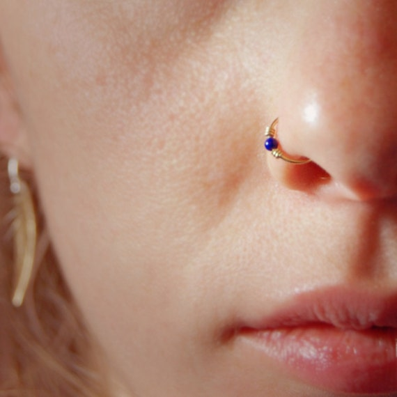 18k solid gold nose ring small gemstone embellished by