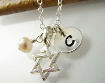 Personalized Star of David Necklace, Bat Mitzvah Gift Idea, Sterling Silver
