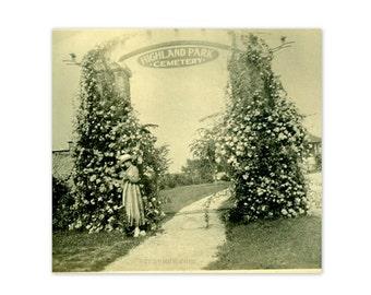 Memorial Day Antique Photo Roses on Highland Park Cemetery Gate Pittsburg, Kansas