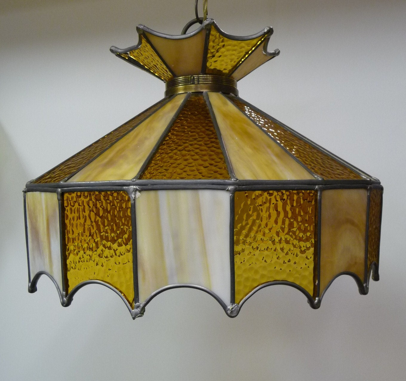 ceiling light swag stained glass gold yellow by salvagerelics
