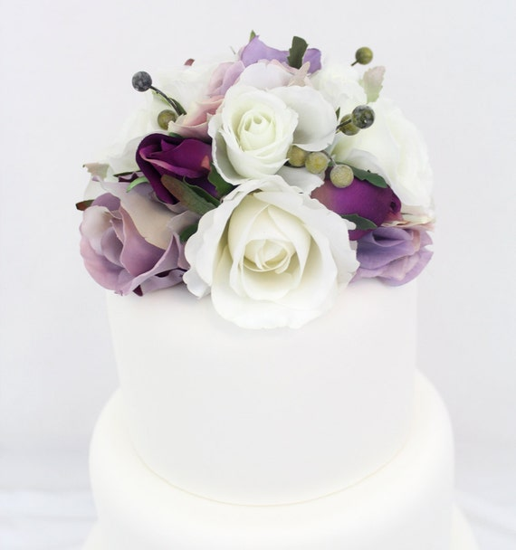 Silk Flower Wedding Cake Toppers: Wedding Cake Topper White Lavender Rose And By ItTopsTheCake