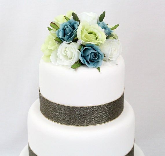 Wedding Cakes With Flowers On Top: Wedding Cake Topper White Green Aqua Rose Silk Flower Cake