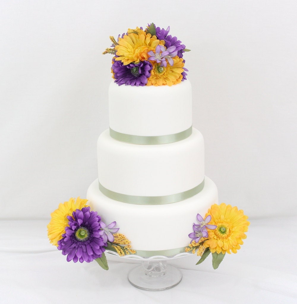 purple and yellow wedding cake ideas wedding cake topper purple yellow gerbera silk flower 18887