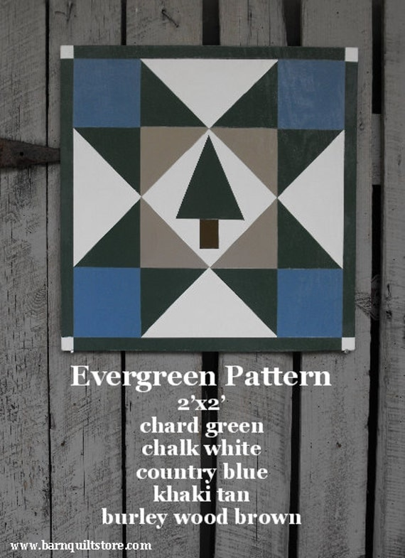 Items Similar To Painted Wood Barn Quilt Evergreen