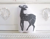 Plush Deer Pillow in Grey. Hand Woodblock Printed. Choose Any Color. Made to Order.