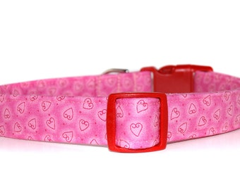 Tiny Hearts,,,,Custom Pink Hearts Dog Collar