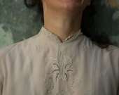 1960s Vintage Pure Italian Silk Hand Embroidered in Italy Mandarin Collar Exquisite Fresh Chalk Grey Cut Out Long Sleeved Blouse-Shirt