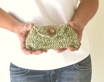 50% OFF Crochet Clutch Envelope Wallet Yarn Pouch Moss Green and White Small Cozy Case