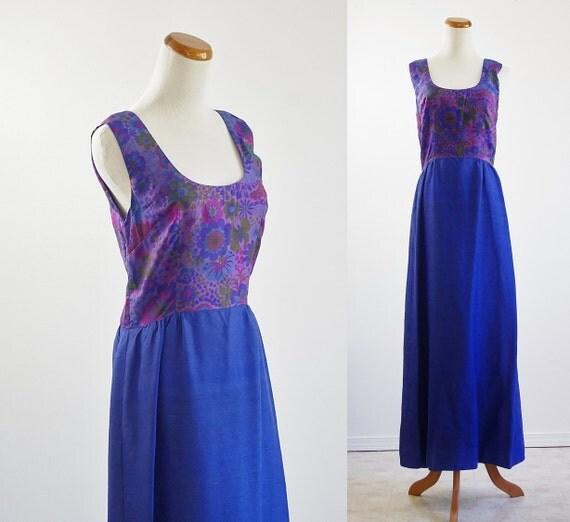 Vintage 60s Maxi Dress --  Sleeveless Purple & Blue Floral -- Medium