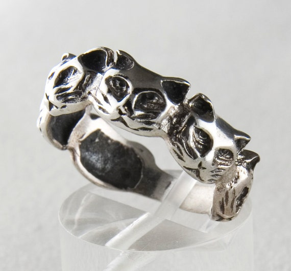 cat sterling silver ring by janpalombodesign on etsy