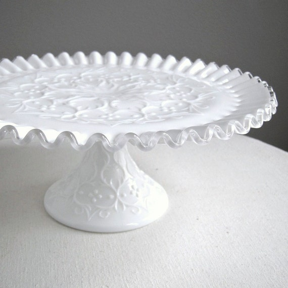 Milk Glass Cake Plate by Fenton - Silver Crest Spanish Lace Wedding Decor