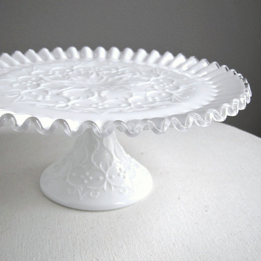 Milk Glass Cake Plate By Fenton Silver Crest Spanish Lace