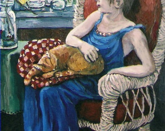"Cat and Girl Acrylic Painting Art PRINT,11x14,large print,room wall art decor,interior,portrait,tabby cat,blue,young girl,""Callahan's Nap"""