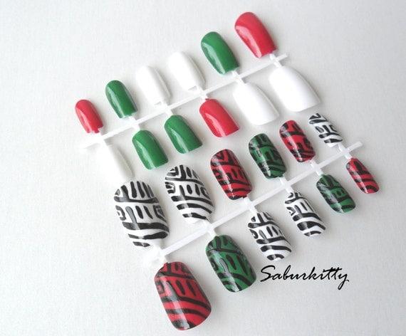 Nail Art Bold Red Green White 4 Set European Resort Italian geometric acrylic artificial fake nails spines w/glue