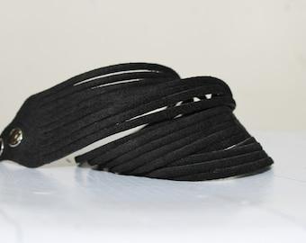 Sale / Black Suede Double Cuff-Bracelet