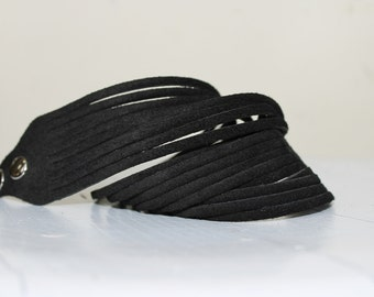 Multi Strand Wrap Bracelet , Black Suede  Cuff-Bracelet