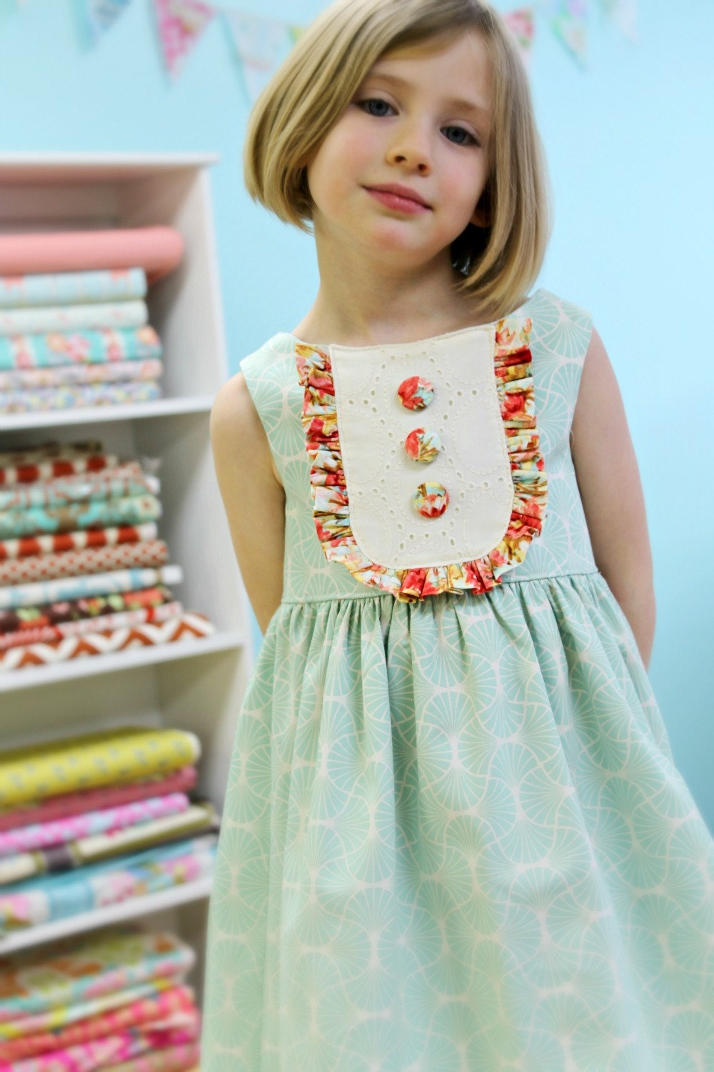 Girls Spring Easter Dress Mint And Coral Vintage Party Dress