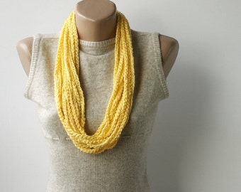 Summer Scarf  Yellow skinny scarf Infinity scarf necklace spring fashion vegan
